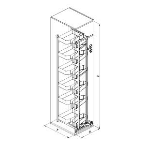SIGE 230APRO colonna attrezzata cucina disegno tecnico