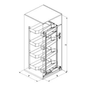 230B PRO colonna attrezzata cucina disegno tecnico