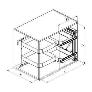 SIGE 350PRO cestello angolo cucina disegno tecnico