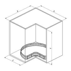 Sige 363+ 90° angolo cucina disegno tecnico