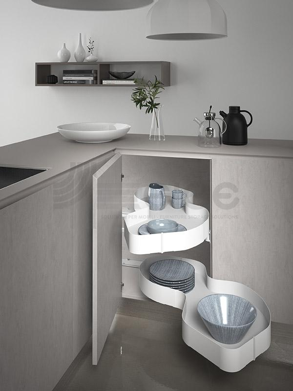 SIGE 371PRO ripiano angolo base etraibile cucina white